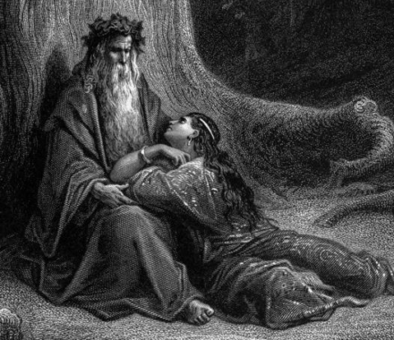 "Gustave Doré, gravure ""Merlin et Viviane"""